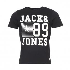 Tee-shirt col rond Jack&Jones en coton noir et floqué