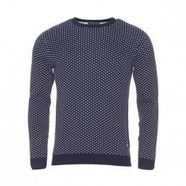 Pull col rond Jack&Jones en coton bleu marine à motifs blancs