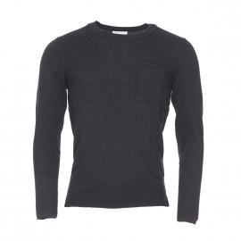 Pull léger col rond Selected en coton gris carbone