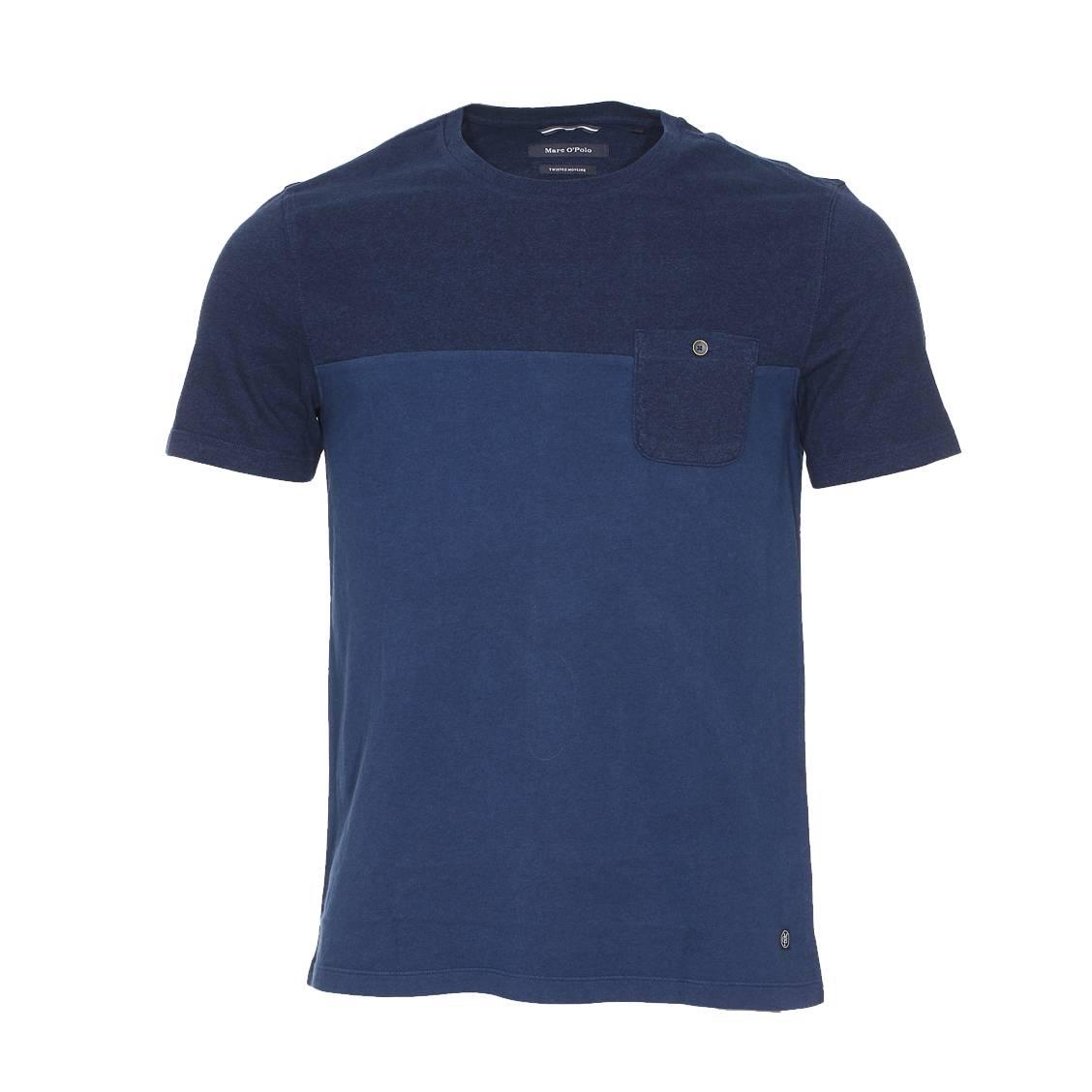 6b0fb8b65a873 Tee-shirt col rond Marc O Polo en coton bleu moucheté .