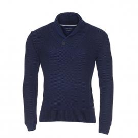 Pull col châle Marc O'Polo à mailles noires et bleues en coton