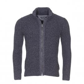 Cardigan zippé Marc O'Polo à mailles en coton bleu/gris foncé