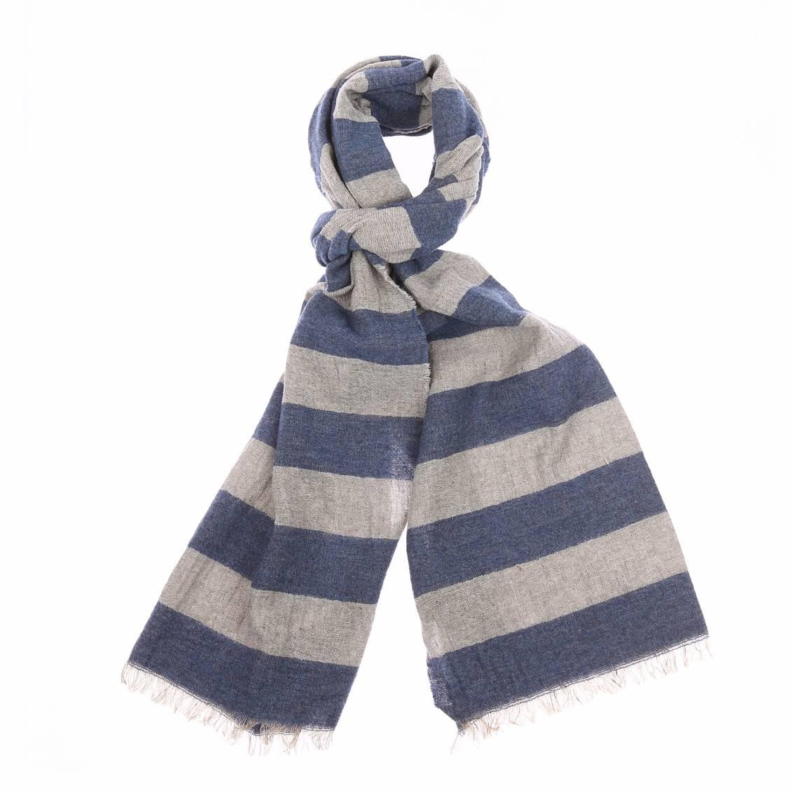 Echarpe à franges marc o\'polo en lin et laine à rayures bleu et gris vintage