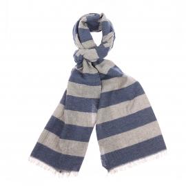 Echarpe à franges Marc O'Polo en lin et laine à rayures bleu et gris vintage