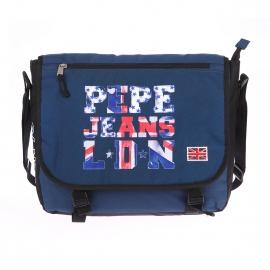 Besace Pepe Jeans en toile bleu marine imprimée