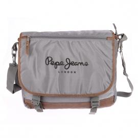 Besace Pepe Jeans en toile grise et simili cuir marron