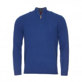 Pull Album Harris Wilson à col zippé en laine bleu de Prusse