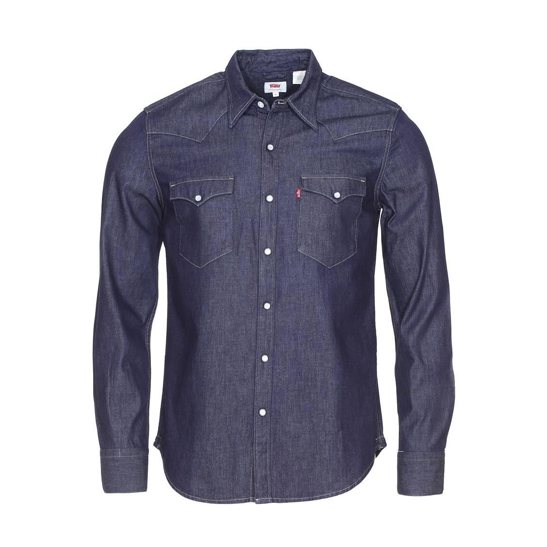 Chemise Jeans Levis se rapportant à chemise levi's barstow western red cast rinse en jean bleu foncé à