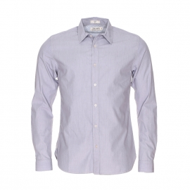 Chemise droite Clément Teddy Smith en coton à fines rayures gris ardoise