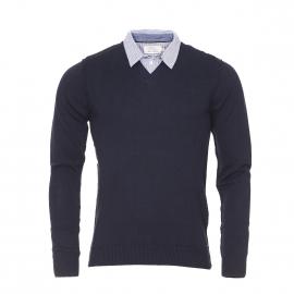 Pull à col chemise Pasque Teddy Smith en coton bleu nuit