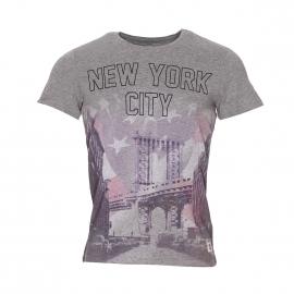 Tee-shirt col rond Jack & Jones gris floqué d'une photographie de New York rose et violette