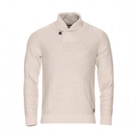 Pull col châle Selected en maille de coton beige clair
