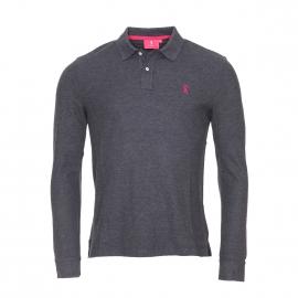 Polo manches longues Vicomte A en coton pima gris anthracite avec logo brodé en rose fuchsia