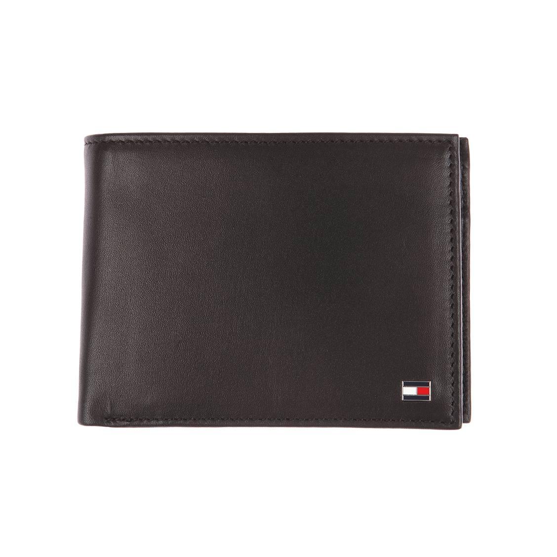 Portefeuille italien Johnson Tommy Hilfiger en cuir grainé noir à porte-monnaie Qd3hA1ERO