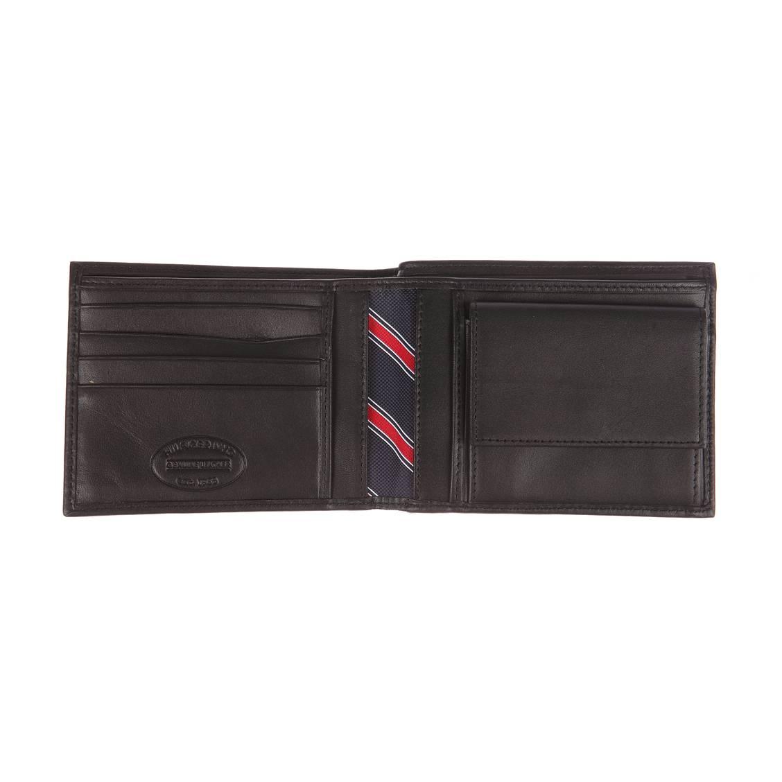 Portefeuille italien Eton Tommy Hilfiger à 2 volets et porte-monnaie en cuir lisse noir yaHmN7q