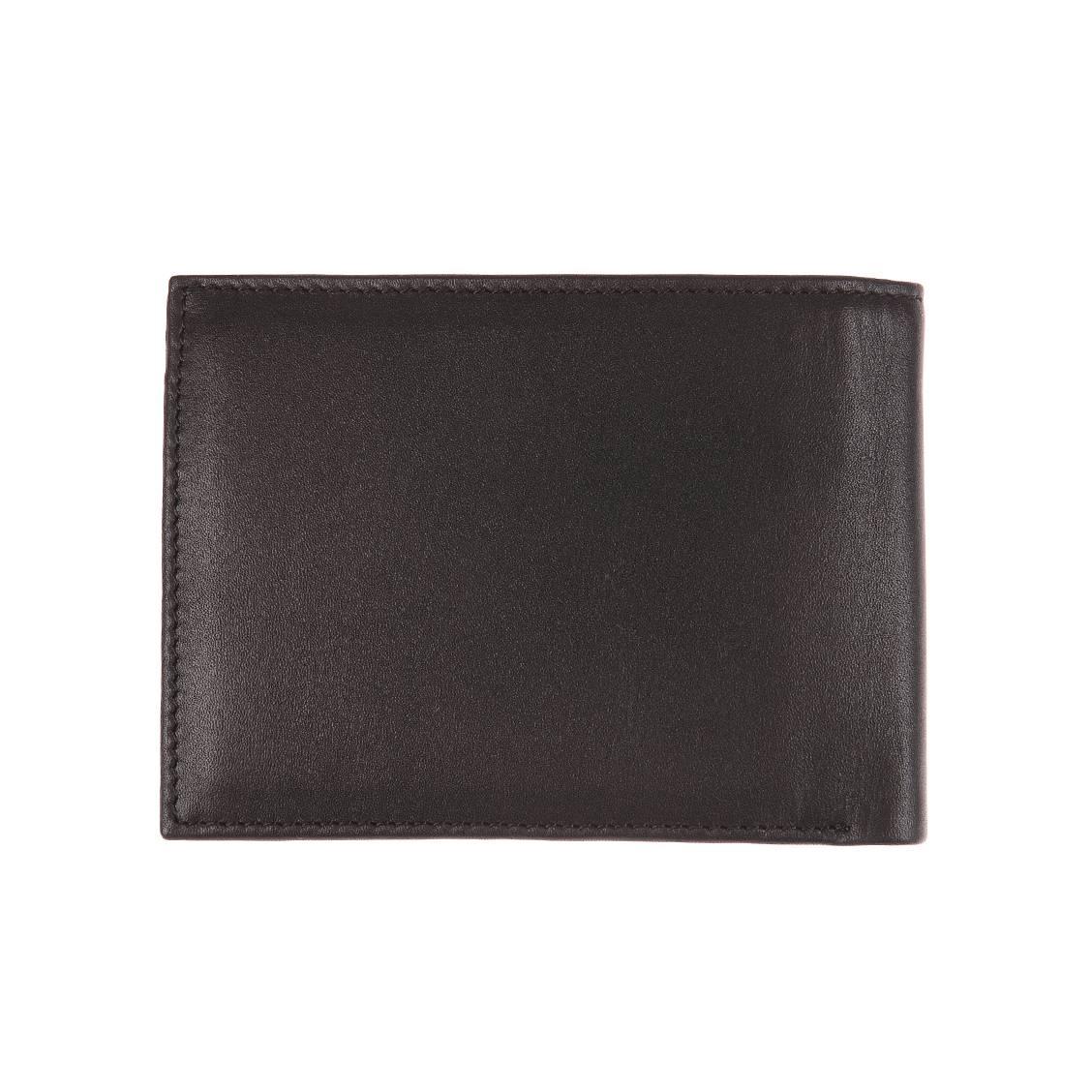 Portefeuille italien Eton Tommy Hilfiger à 2 volets et porte-monnaie en cuir lisse noir EHiWts