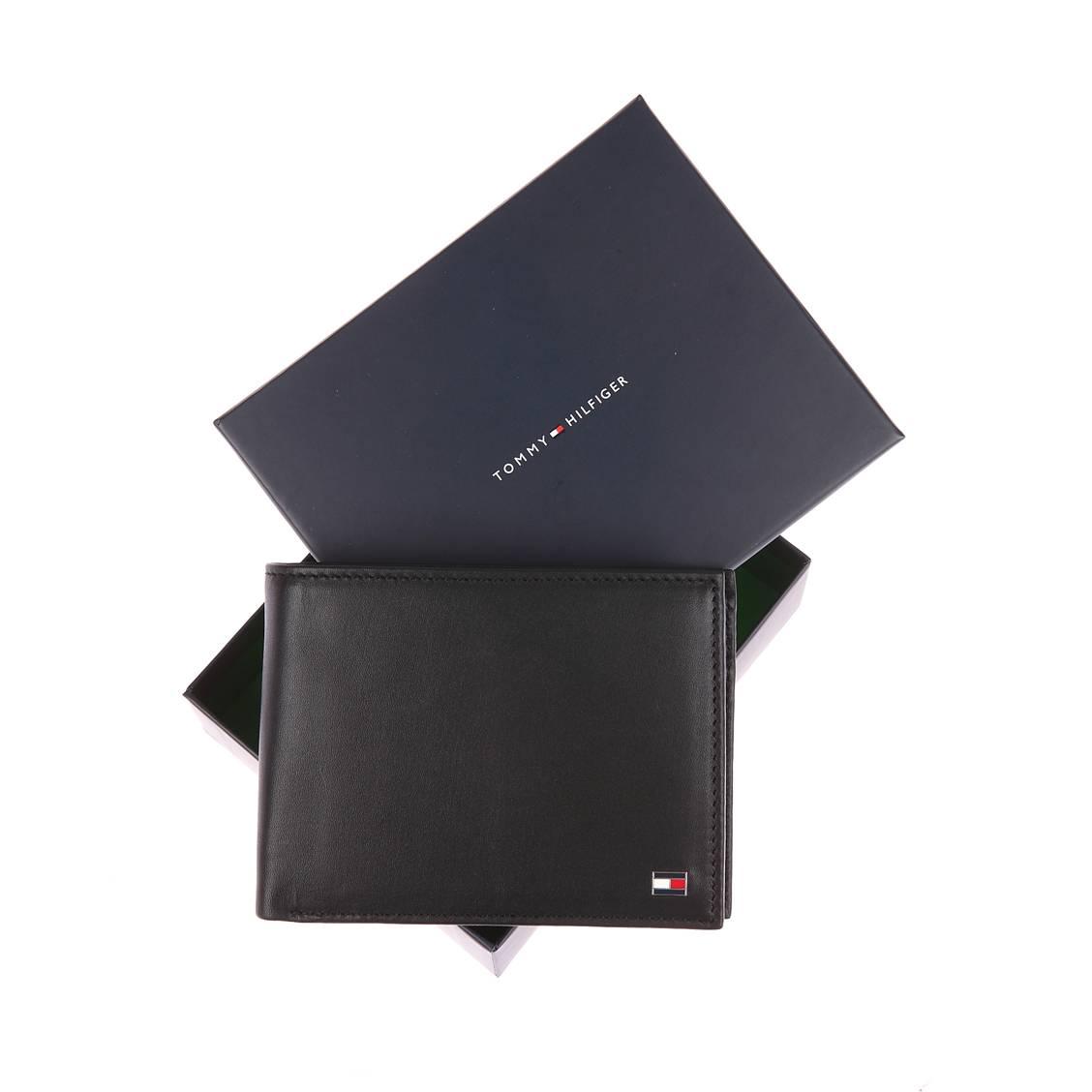 Portefeuille italien Eton Tommy Hilfiger à 2 volets et porte-monnaie en cuir lisse noir FIeFb