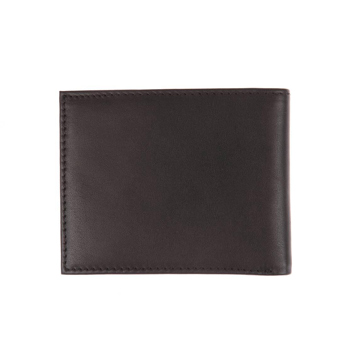Petit portefeuille italien Eton Tommy Hilfiger à 2 volets en cuir lisse noir Qb0jM0z2su