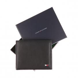 Petit portefeuille italien Eton Tommy Hilfiger à 2 volets en cuir lisse noir
