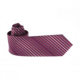 Cravate Pierre Cardin à rayures obliques rouges et bleues