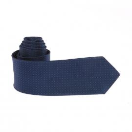 Cravate Pierre Cardin en soie bleu marine à petits pois bleu clair