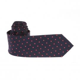 Cravate Pierre Cardin bleu nuit à losanges rouges, bordeaux et blancs