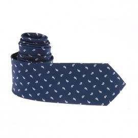 Cravate Pierre Cardin en soie bleu marine à motifs bleu clair et blancs