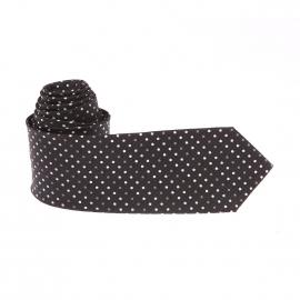 Cravate Pierre Cardin en soie noire à pois blancs et gris clair
