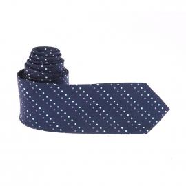 Cravate Pierre Cardin en soie bleu marine à pois blancs, mauves et violets