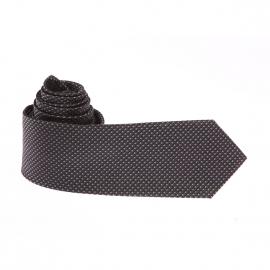 Cravate Pierre Cardin en soie gris anthracite à motifs gris et noirs
