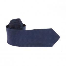 Cravate Pierre Cardin en soie bleu marine à petits pois rouges