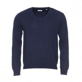 Pull col V Serge Blanco bleu marine en coton et cachemire à coudières contrastées toucher daim