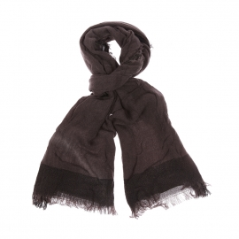 Chèche Hugues Harris Wilson en laine mohair gris foncé à bordures gris anthracite