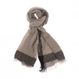 Chèche Hugues Harris Wilson en laine mohair gris clair à bordures gris foncé chiné
