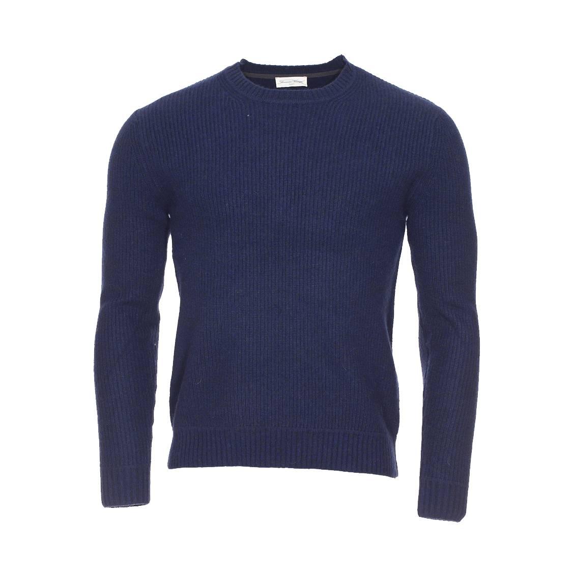 Pull sycamore  en laine et cachemire bleu marine