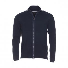 Cardigan zippé Marc O'Polo en coton tricoté bleu marine