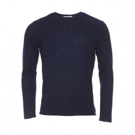 Pull col rond Aigle Harris Wilson en laine Mérinos bleu marine
