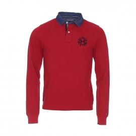 Polo manches longues Lacey Tommy Hilfiger en coton piqué rouge à col en denim bleu foncé