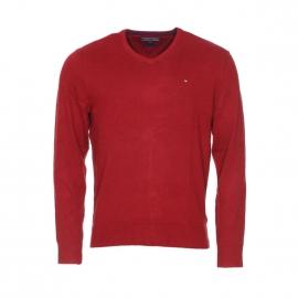 Pull col V Tommy Hilfiger rouge en coton et cachemire