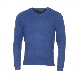 Pull col V Tommy Hilfiger bleu indigo en coton et cachemire