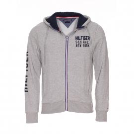 Sweat zippé à capuche Nate Tommy Hilfiger en coton gris clair chiné à inscriptions bleu marine