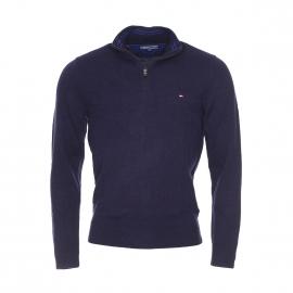 Pull à col zippé Liam Tommy Hilfiger en laine bleu marine