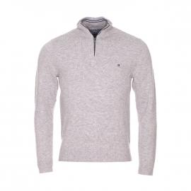 Pull à col zippé Liam Tommy Hilfiger en laine gris clair