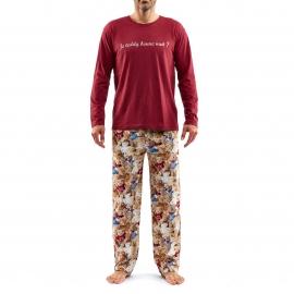 Pyjama long Arthur Teddy : Tee-shirt manches longues bordeaux estampillé