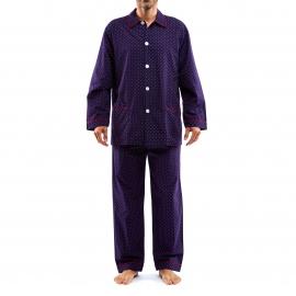 Pyjama long Arthur Minifox : Veste boutonnée et pantalon bleu marine à imprimés renards bordeaux et blancs