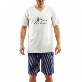 Pyjama court Arthur Rugby : Tee-shirt beige manches courtes estampillé