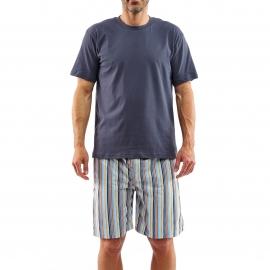 Pyjama court Arthur Caumartin : Tee-shirt gris foncé manches courtes et bermuda à rayures multicolores