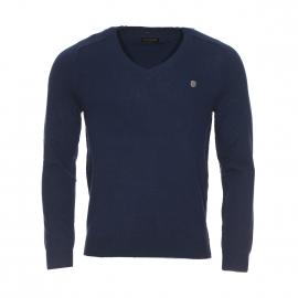 Pull col V Antony Morato bleu marine en laine et cachemire