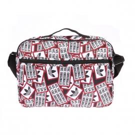 Besace Adidas en tissu rouge, blanc et noir, floquée du logo