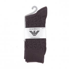 Lot de 2 paires de chaussettes Emporio Armani en coton gris foncé uni et gris foncé monogrammé
